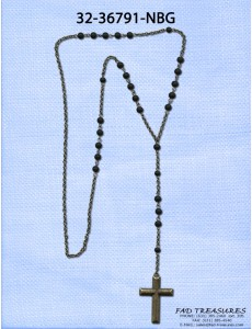 Black Rosary Round Beads With Burnish Gold Cross Necklace