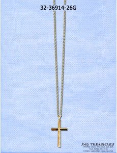 Gold Cut Curb Chain With Cross Necklace
