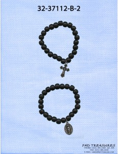 2 Piece Set Elastic Beads With Religious Charms Bracelet