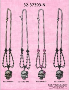 Skull With Flowers & Beads Necklace