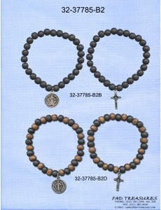Assorted 2 Piece Set Beads With Religious Charms Bracelet