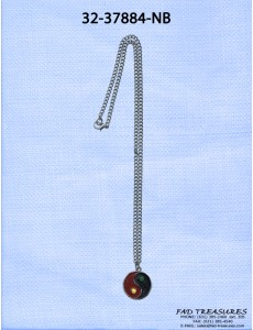 Burnish Silver Chain With Yin Yang Charm Necklace