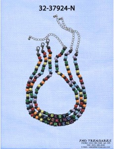 Choker 3 Row Best Fucking Friend Multi Color And Black Beads Necklace
