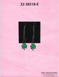Silver With Dangle Green Clovers Earring