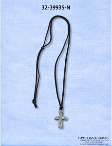 Black Leather With Burnish Silver Cross Necklace