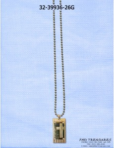 Gold Ballchain With Dogtag Cutout Cross Necklace