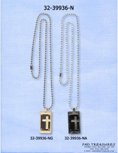 Ball Chain With Cross Cut Out Necklace