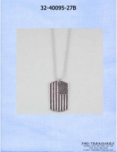Us Flag Dog Tag Ball Chain Necklace