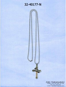 Silver Ballchain With Cross And Crown Necklace