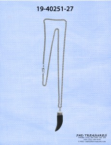 Silver Chain With Black Horn Necklace