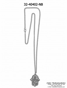 Burnish Silver Chain With Large Hamsa Hand Necklace