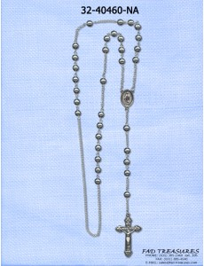 Antique Silver Rosary Beaded With Crusifix Necklace