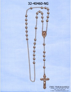 Gold Rosary Beaded With Crusifix Necklace