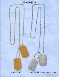 Assorted Platings Ballchain With Dog Tags Necklace