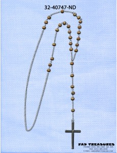 Brown Rosary Beads With Antqiue Silver Crusifix Necklace