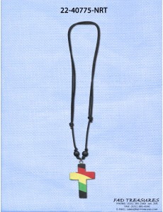 Black Leather Rasta Fimo Cross Necklace