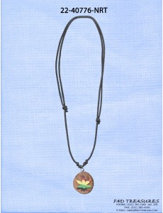 Black Leather Round Wood Rasta Pot Leaf Necklace