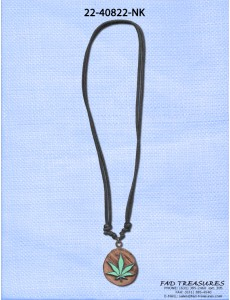 Black Leather Wood With Curb Rasta Fimo Pot Leaf Necklace