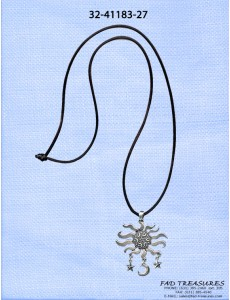 Black Cord Antique Silver With Moon Stars Dangle Necklace