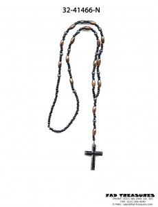 Rosary Brown And Black Beads With Hematite Stone Beads And Cross Necklace
