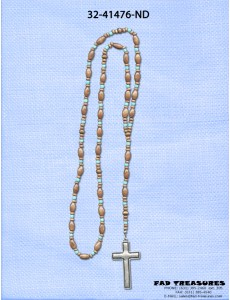 Brown Beads With Turquoise Spacers Rosary With Burnish Silver Cross Necklace