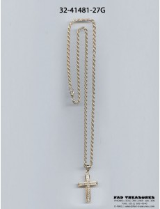 Rope Gold Chain With Clear Stones Cross Necklace