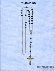 Rosary Gold Chain With Crusifix Black Facet Beads Necklace