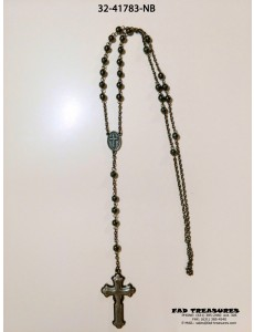 Burnish Silver Chain Rosary Shiny Round Hematite Beads Necklace