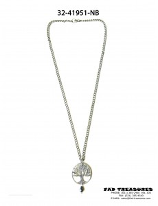 Burnish Silver Chain With Tree Of Life Pendant Black Facet Bead Necklace