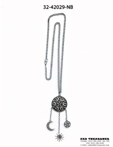 Burnish Silver With Sun,Moon & Pentagram Pendant Charms Necklace