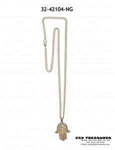 Gold Chain With Hamsa Hand Mood Stone Necklace