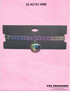 Choker Rainbow Tattoo With Rainbow Spiral Charm Necklace