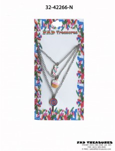 Silver Triple Chain Sweet Candy/Cupcakes Necklace