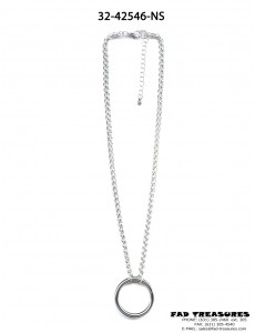 Large Silver O-RING Rope Chain Necklace