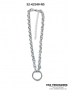 Large Silver O-RING Oval Chain Necklace