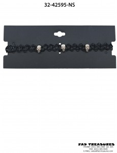 Choker Black Tattoo With Silver Skulls Necklace