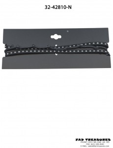 Choker Black Three Layers Rope, Leather & Silver Studs Necklace