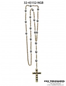Gold Rosary Hematite Beads With Stone Cross Necklace