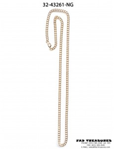 Gold Thin Flat Curb Chain Necklace