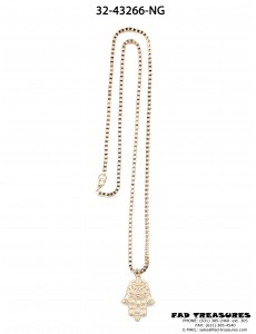 Gold Square Chain With Hamsa Hand Necklace