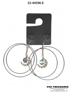 Hoops With Star/Planet Half Moon & Translet Moon Earrings