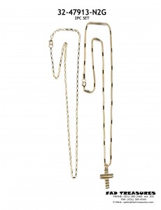Neck 2Pc Set Gold Chain And Cross