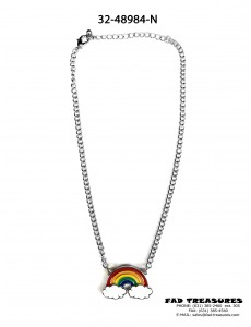 Silver Chain Rainbow Cloud Charm Necklace