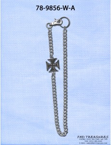 Silver Iron Cross Wallet Chain